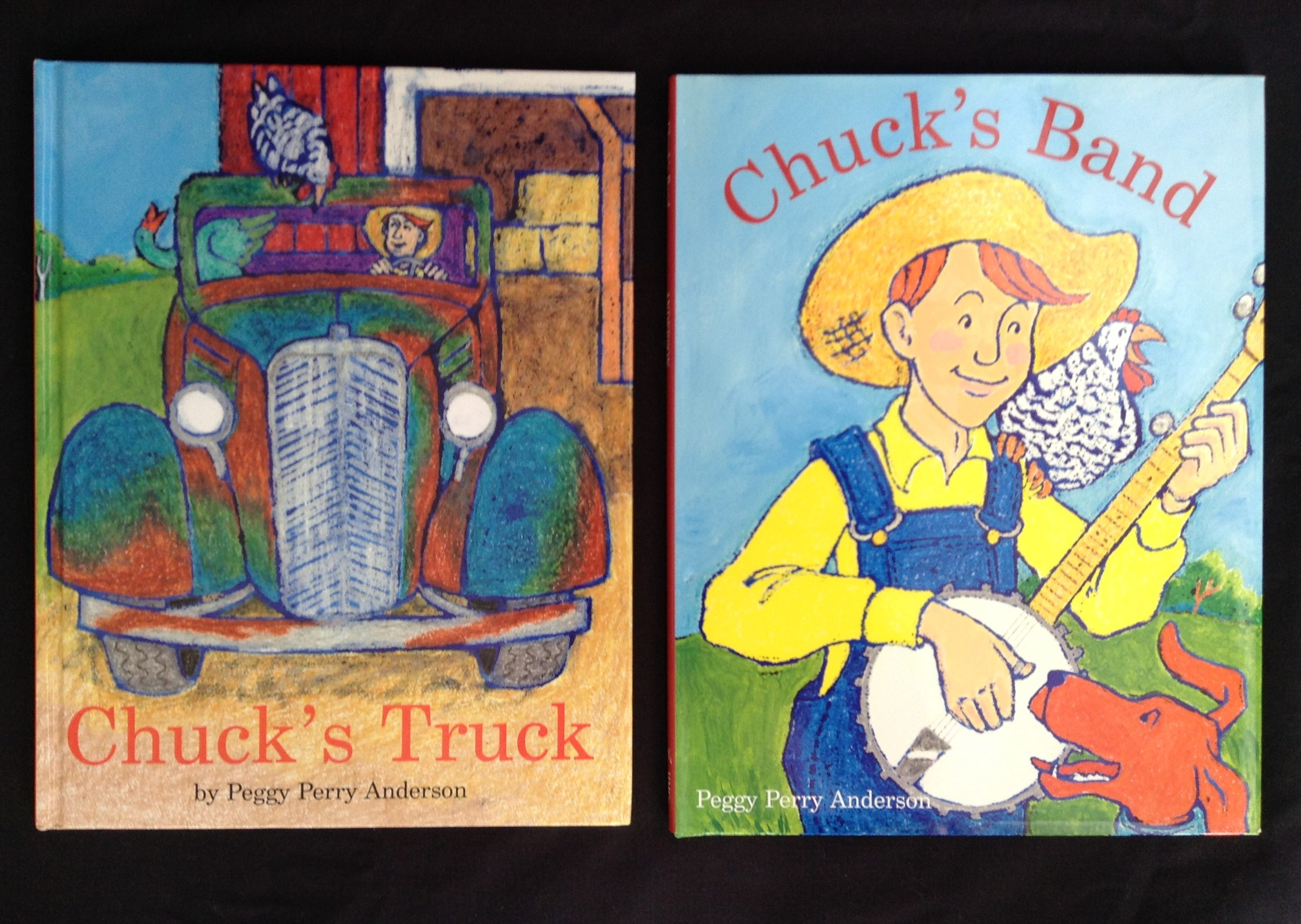 """Chuck's Truck-""""Both the pithy rhyming text and the bold, expressive animals are sure to tickle preschoolers' funny bones...""""--Horn Book Chuck's Band-""""Bright acrylics, a cleverly rollicking text and the introduction of many farm animals and instruments nudge this above average.--Kirkus"""